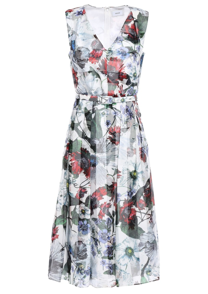 Erdem Woman Belted Pleated Printed Organza Dress White