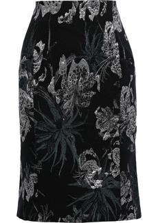 Erdem Woman Brenda Metallic Floral-jacquard Pencil Skirt Black