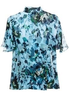 Erdem Woman Caprice Floral-print Silk-georgette Blouse Light Blue