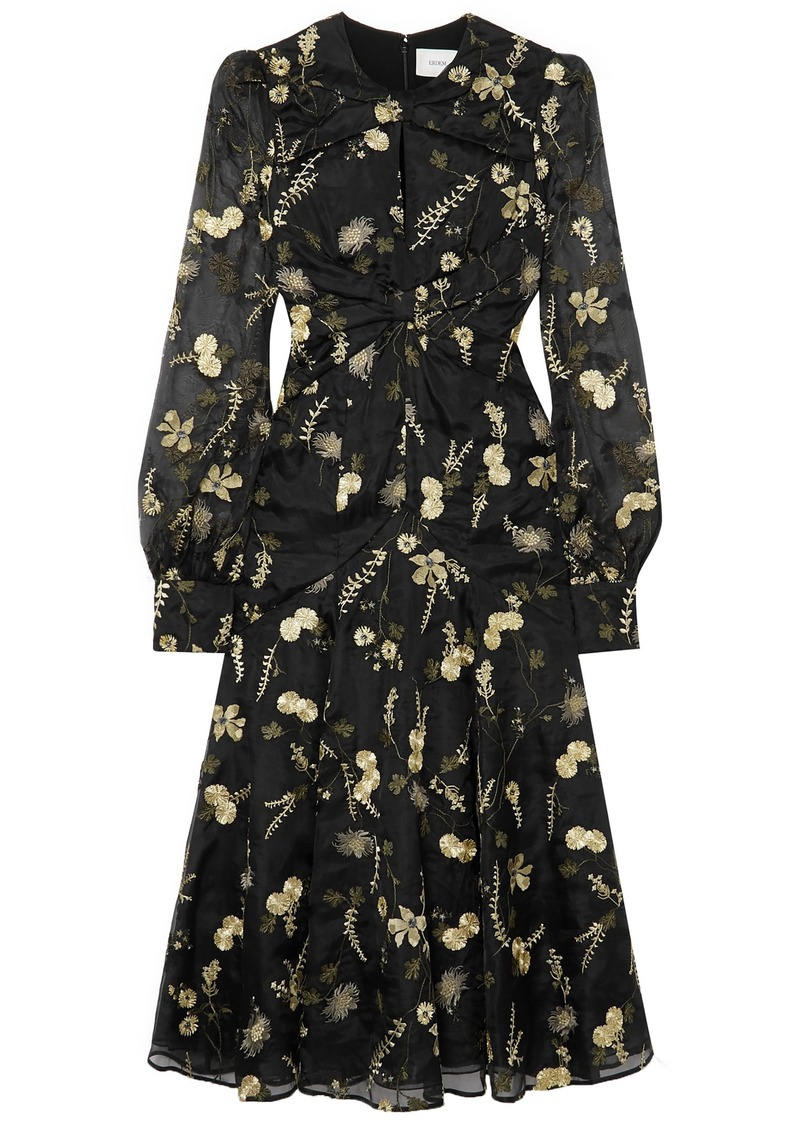 Erdem Woman Carwen Embroidered Silk-organza Midi Dress Black