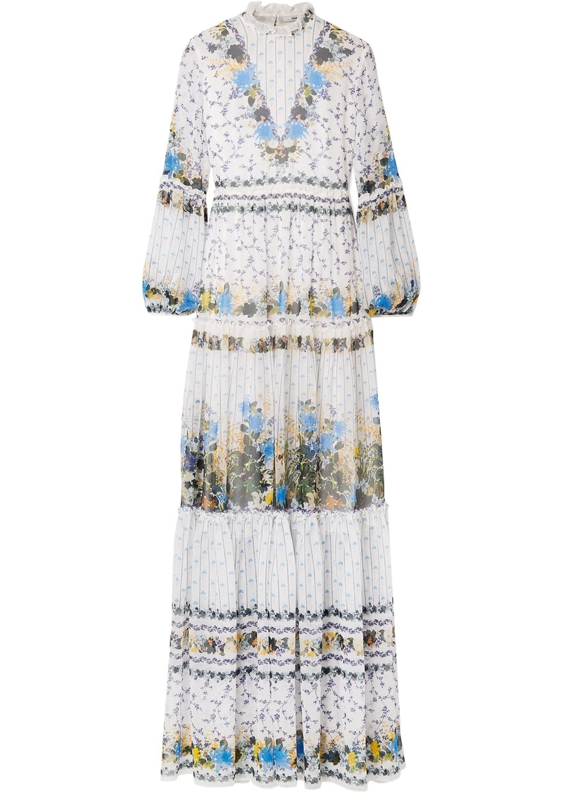 Erdem Woman Cassandra Tiered Floral-print Silk-chiffon Gown White