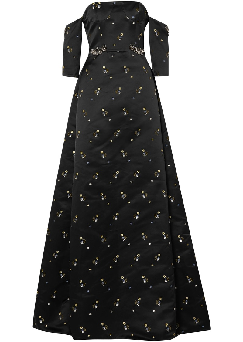 Erdem Woman Cecelia Off-the-shoulder Embellished Duchesse-satin Gown Black