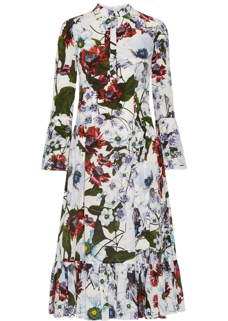 Erdem Woman Connie Floral-print Silk Crepe De Chine Dress White