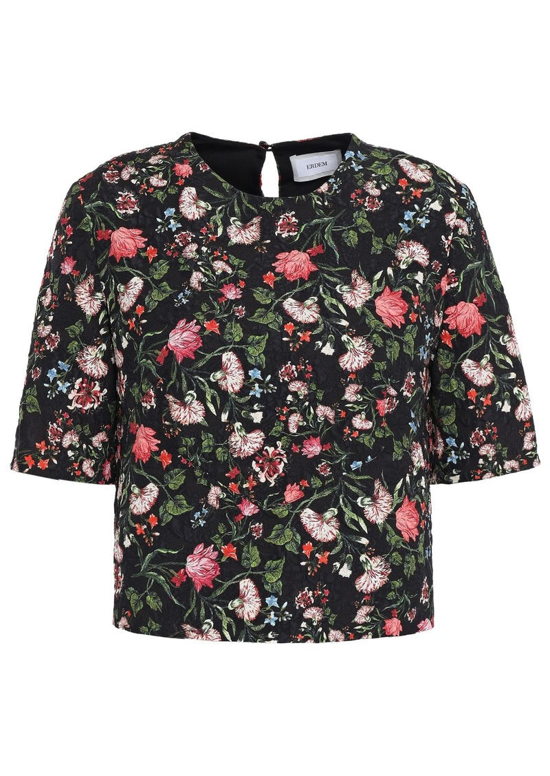 Erdem Woman Cropped Floral-print Cloqué Top Black