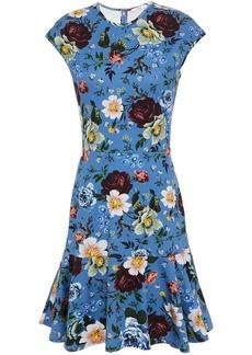 Erdem Woman Darlina Fluted Floral-print Jersey Mini Dress Blue
