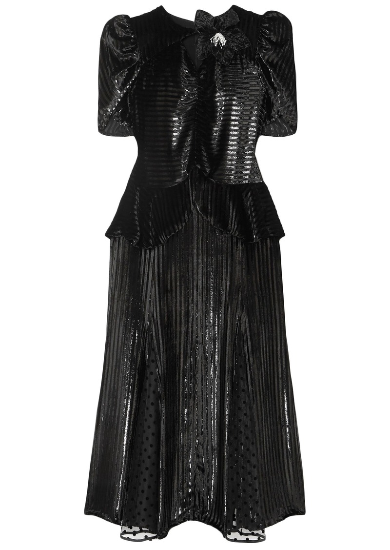 Erdem Woman Diantha Flocked Tulle-paneled Metallic Striped Velvet Midi Dress Black