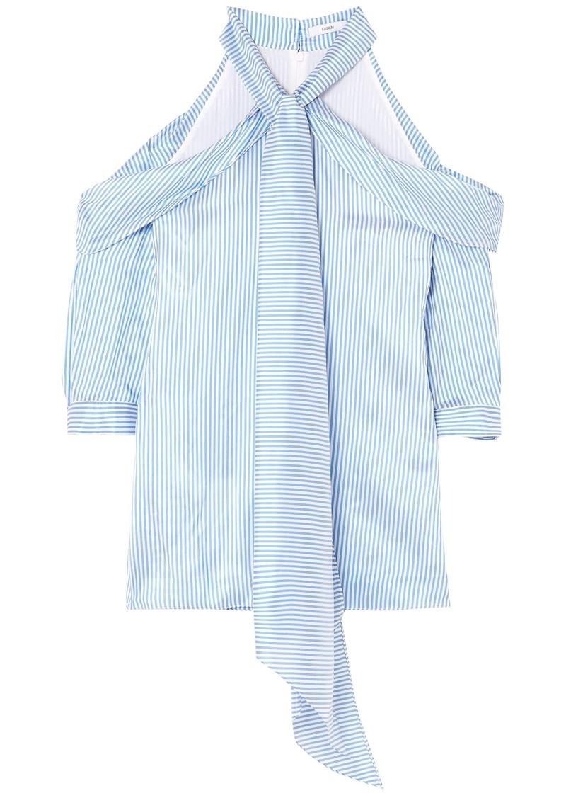 Erdem Woman Elin Cold-shoulder Striped Silk-satin Top Blue