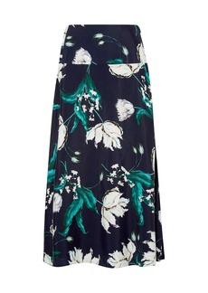 Erdem Woman Elvin Floral-print Crepe Midi Skirt Navy
