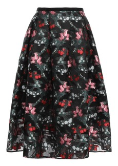 Erdem Woman Flared Metallic Fil Coupé Organza Midi Skirt Black