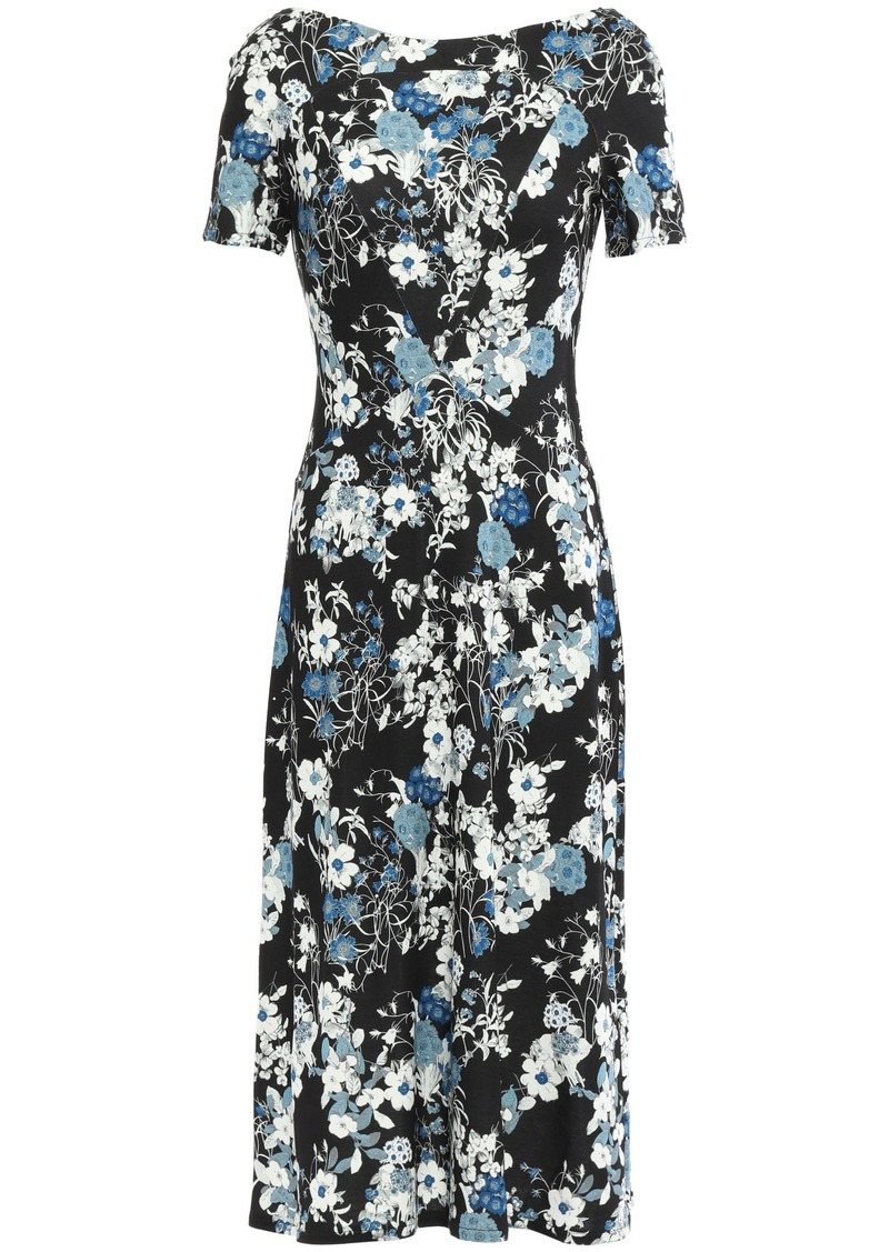 Erdem Woman Floral-print Ponte Dress Black