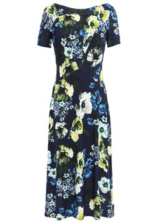 Erdem Woman Floral-print Ponte Dress Navy