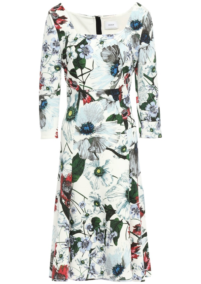 Erdem Woman Floral-print Ponte Dress White