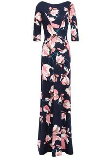 Erdem Woman Floral-print Ponte Gown Navy