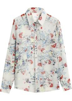 Erdem Woman Floral-print Silk-chiffon Shirt Light Gray