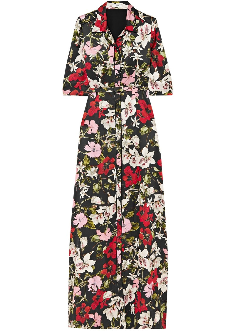 Erdem Woman Floral-print Silk-satin Maxi Shirt Dress Black