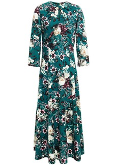 Erdem Woman Floral-print Stretch-ponte Midi Dress Emerald