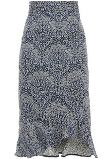 Erdem Woman Fluted Floral-jacquard Midi Skirt Navy