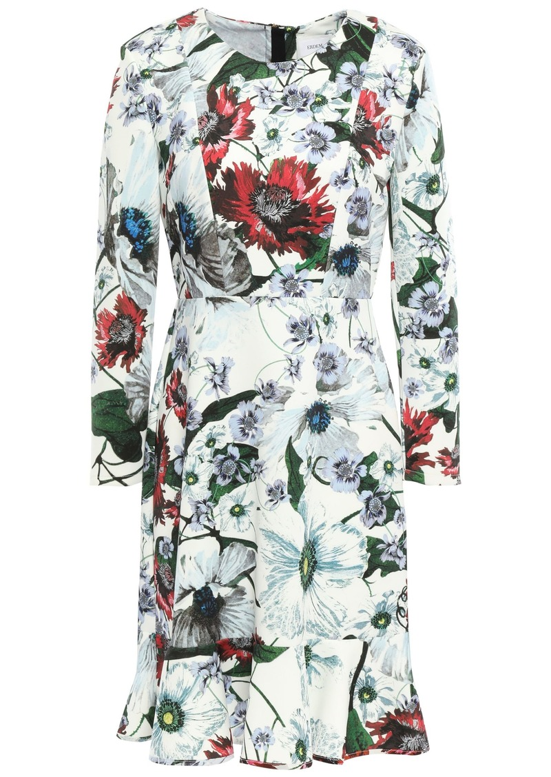 Erdem Woman Fluted Floral-print Ponte Mini Dress White