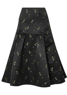 Erdem Woman Gael Pleated Embroidered Duchesse-satin Midi Skirt Black