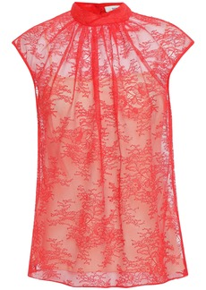 Erdem Woman Gathered Chantilly Lace Top Red