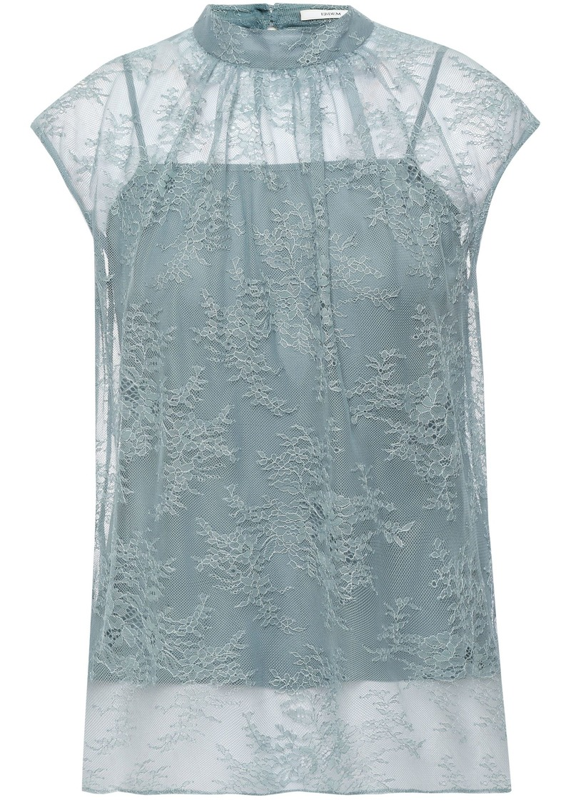 Erdem Woman Gathered Chantilly Lace Top Sky Blue