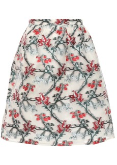 Erdem Woman Gathered Metallic Fil Coupé Organza Mini Skirt Ivory