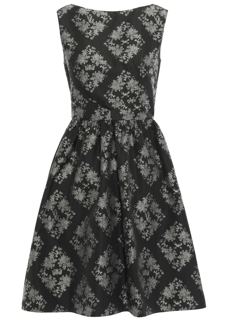 Erdem Woman Gathered Printed Taffeta Mini Dress Black
