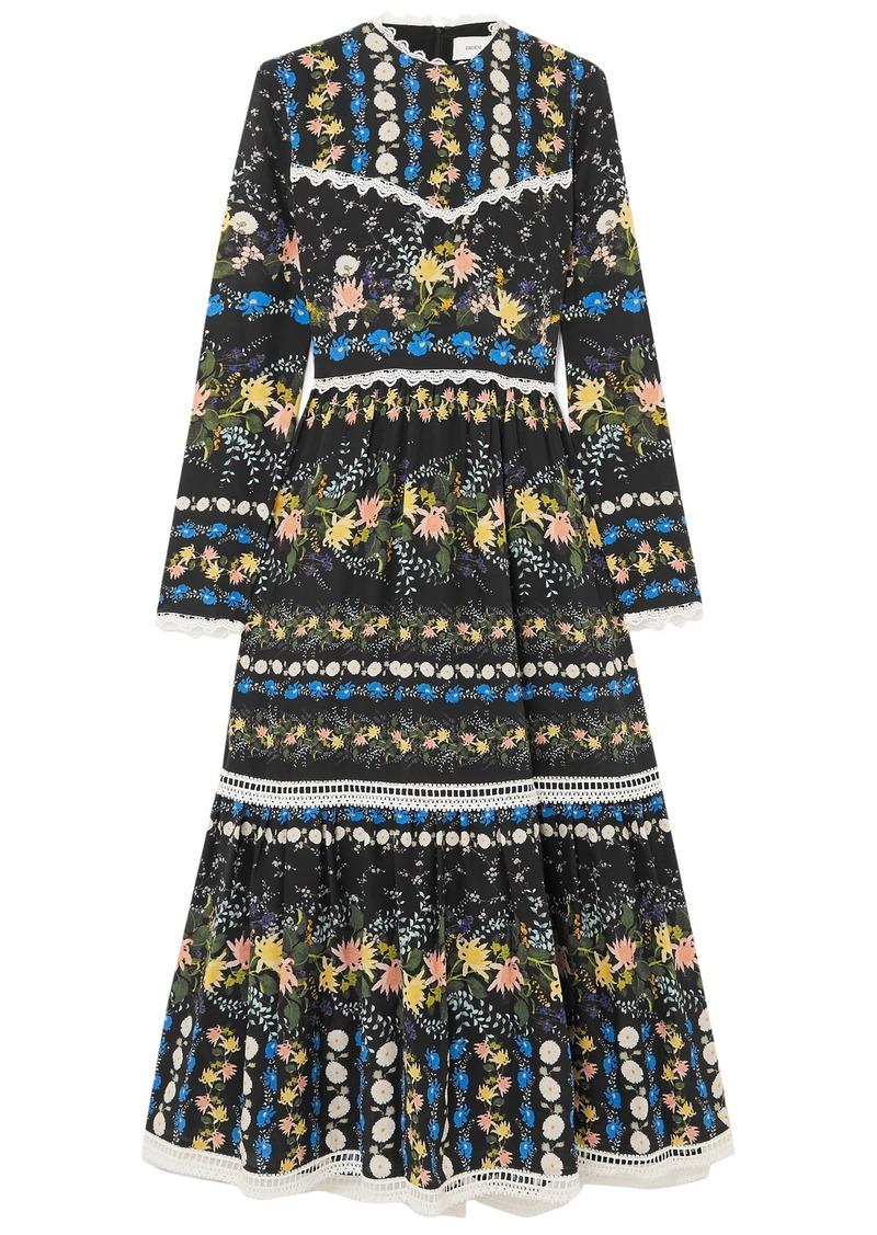 Erdem Woman Georgie Lace-trimmed Floral-print Silk-crepe Midi Dress Black