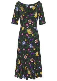 Erdem Woman Gleny Floral-print Ponte Midi Dress Black