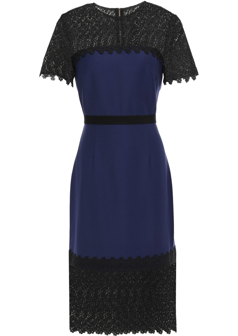 Erdem Woman Guipure Lace-paneled Wool-blend Dress Indigo