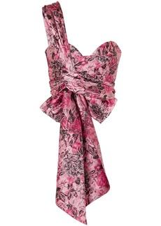 Erdem Woman Halle One-shoulder Bow-detailed Floral-jacquard Bustier Top Pink