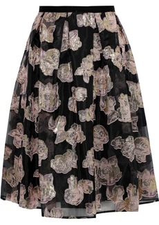Erdem Woman Halyn Pleated Metallic Fil Coupé Organza Skirt Black