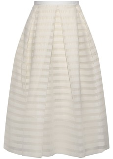 Erdem Woman Ina Pleated Striped Organza Skirt White