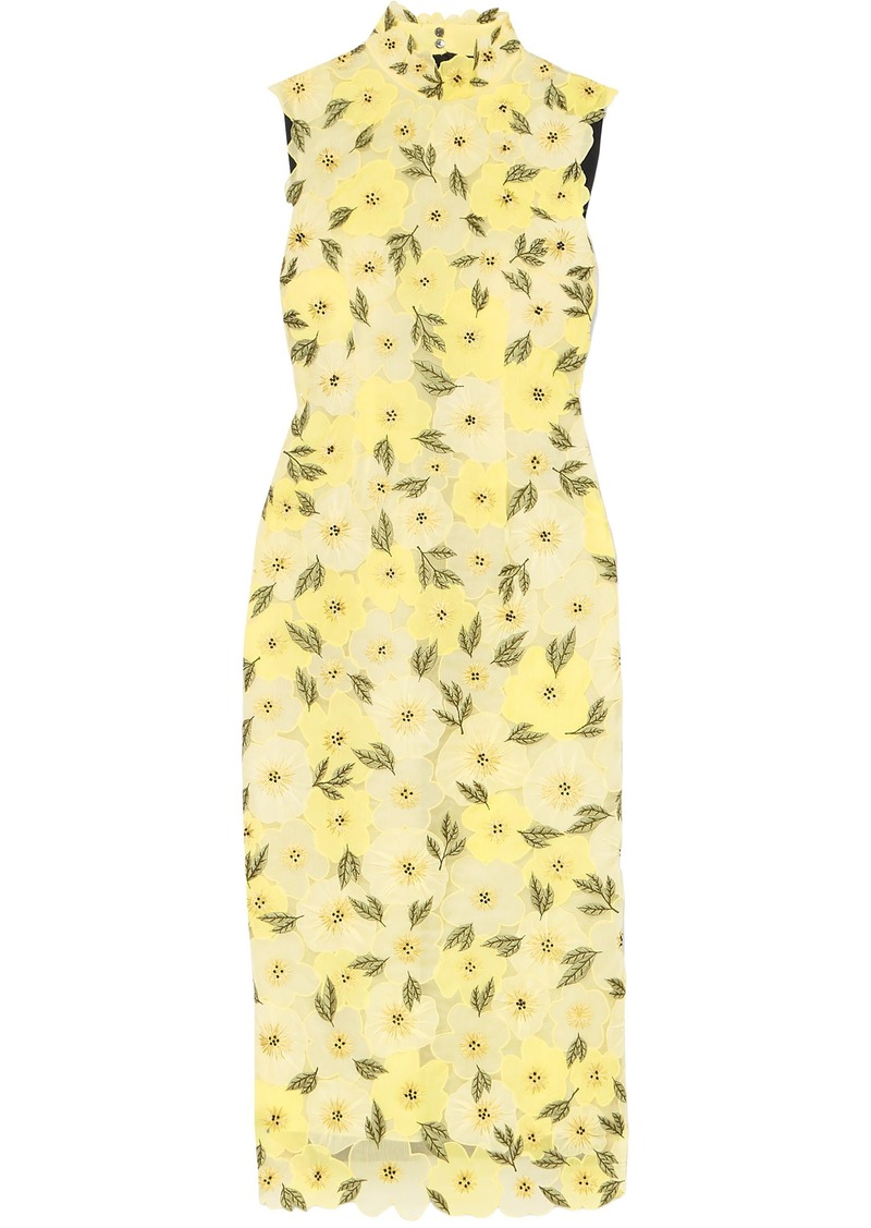 Erdem Woman Josie Embellished Embroidered Chiffon Midi Dress Pastel Yellow