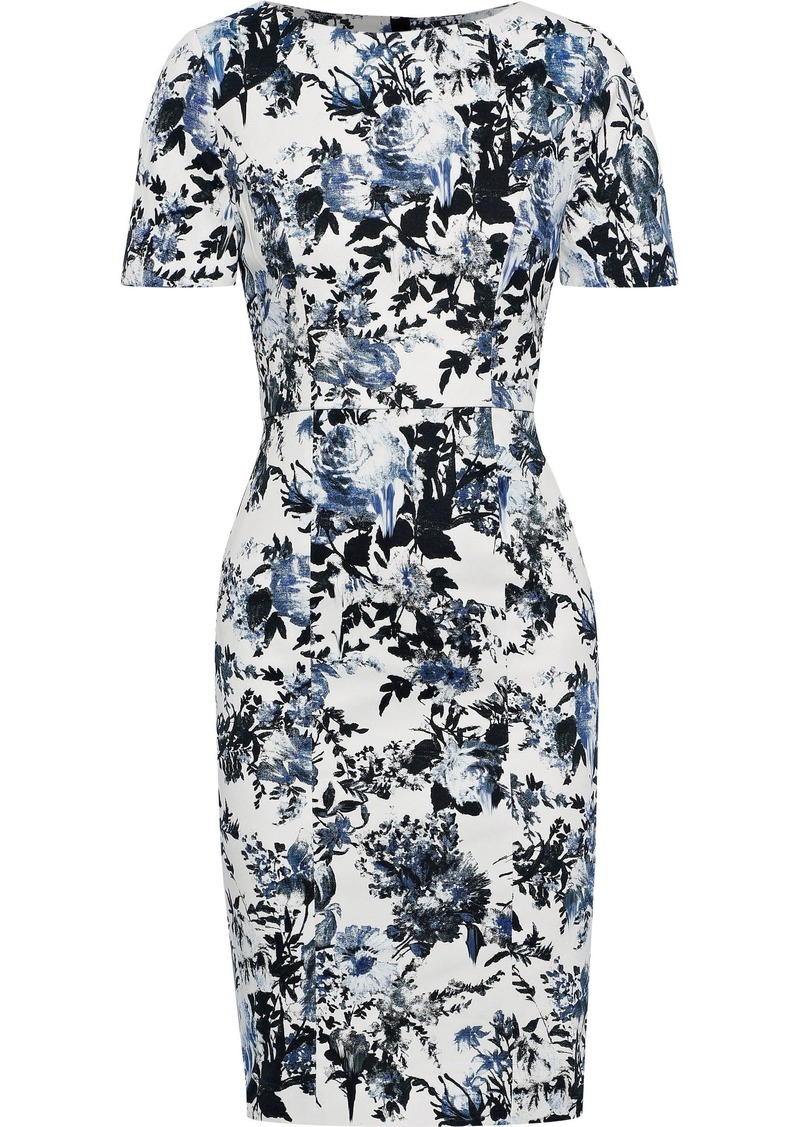 Erdem Woman Joyce Floral-print Stretch-cotton Dress Blue
