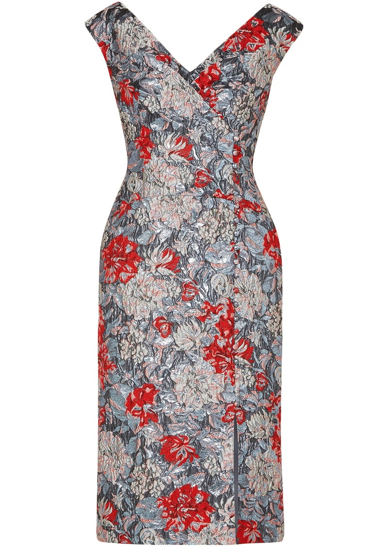 Erdem Woman Jyoti Button-detailed Brocade Dress Silver