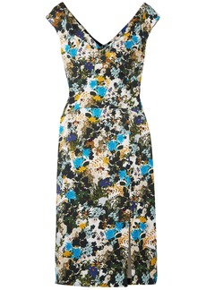Erdem Woman Jyoti Floral-print Cotton-blend Jacquard Dress Blue