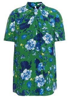 Erdem Woman Karola Twisted Floral-print Crepe Top Green