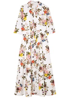 Erdem Woman Kasia Floral-print Cotton-poplin Midi Shirt Dress White