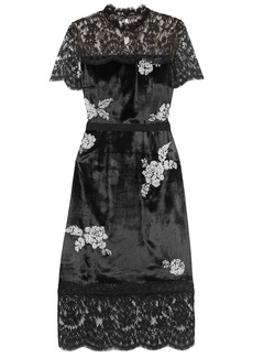 Erdem Woman Keni Lace-paneled Faux Pearl-embellished Velvet Dress Black