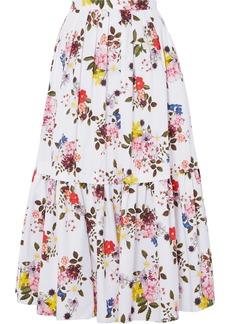 Erdem Woman Leigh Layered Floral-print Cotton-poplin Maxi Skirt White