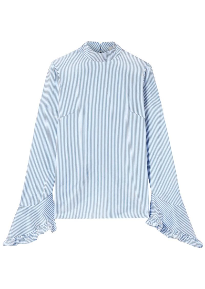 Erdem Woman Lindsay Ruffle-trimmed Striped Silk Blouse Blue
