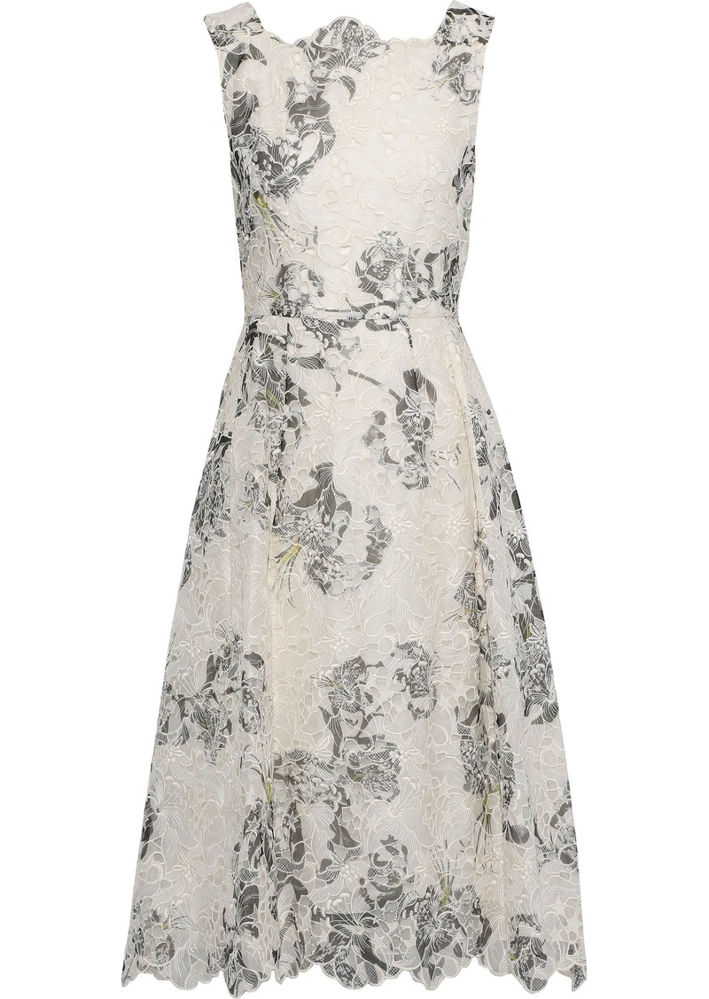 Erdem Woman Mara Printed Broderie Anglaise Silk Dress White
