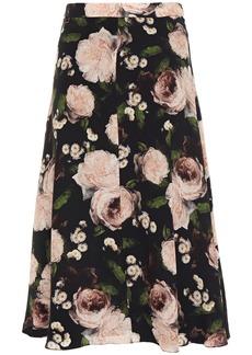 Erdem Woman Maury Floral-print Silk Crepe De Chine Skirt Black