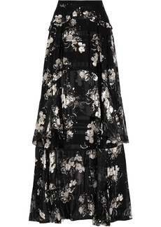 Erdem Woman Annabelle Ruffled Printed Silk-chiffon Maxi Skirt Black