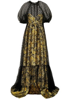 Erdem Woman Neave Layered Flocked Tulle And Floral-jacquard Gown Yellow