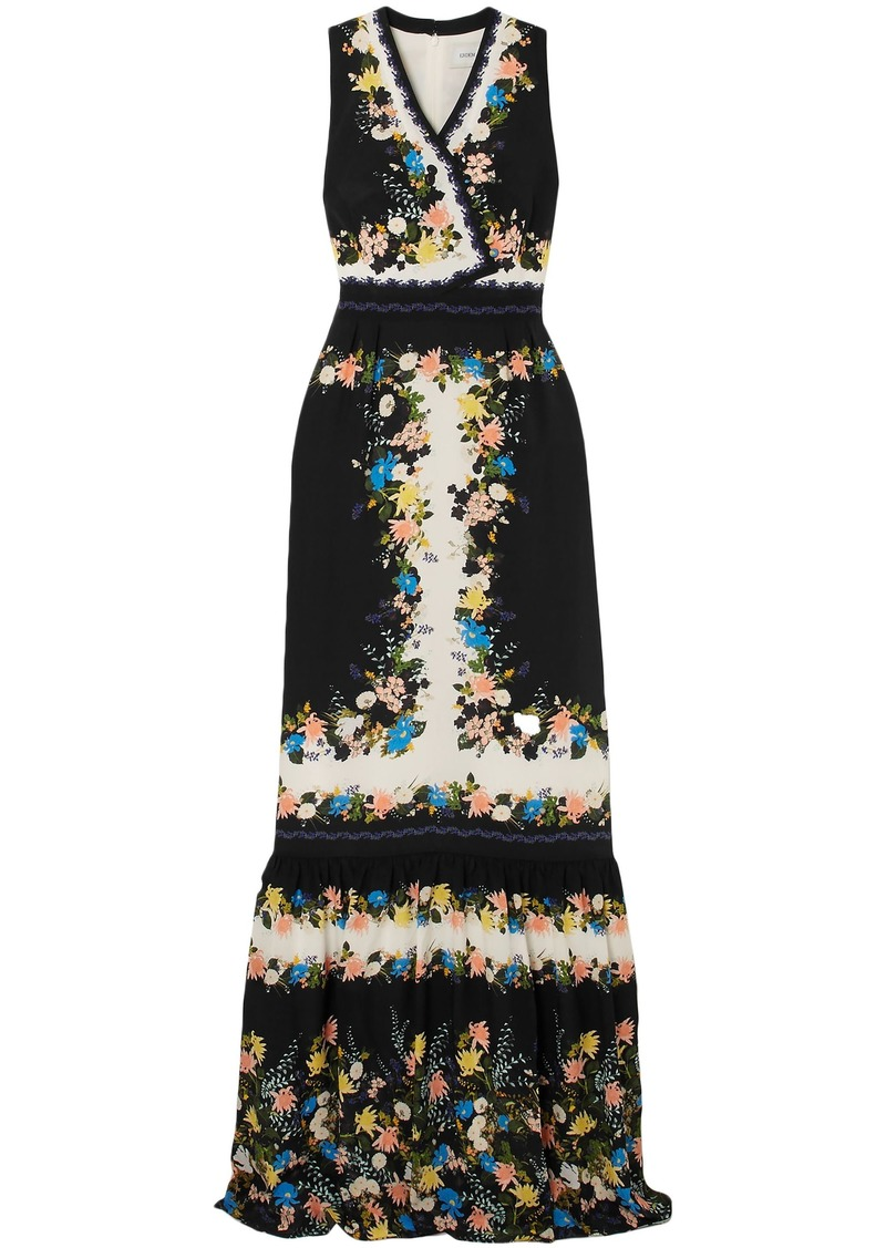 Erdem Woman Nichole Wrap-effect Floral-print Silk Crepe De Chine Gown Black