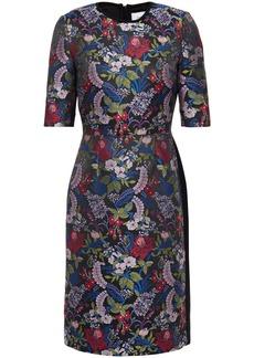 Erdem Woman Paneled Floral-jacquard And Crepe Dress Black