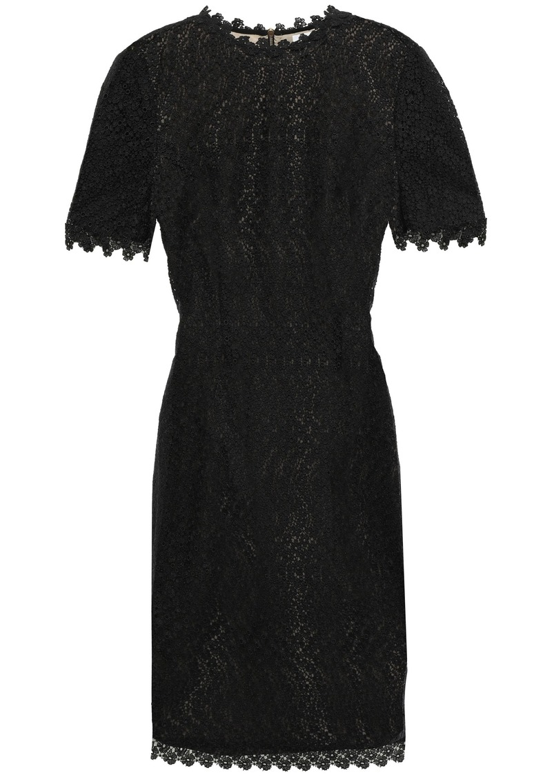 Erdem Woman Paneled Guipure Lace And Ponte Mini Dress Black