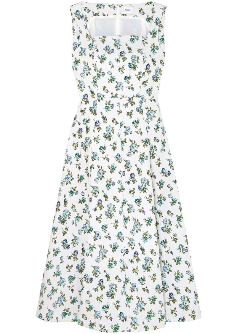 Erdem Woman Polly Floral-jacquard Midi Dress White